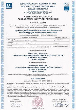 Certyfikat zgodności płytki do gwoździowania