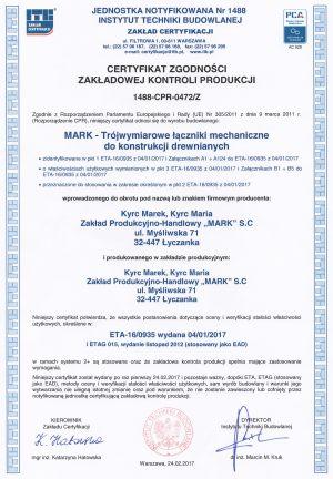 Certyfikat zgodności trójwymiarowe łączniki